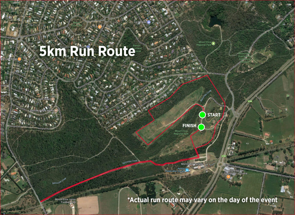 5km run route for My Mount Eliza Trail Run