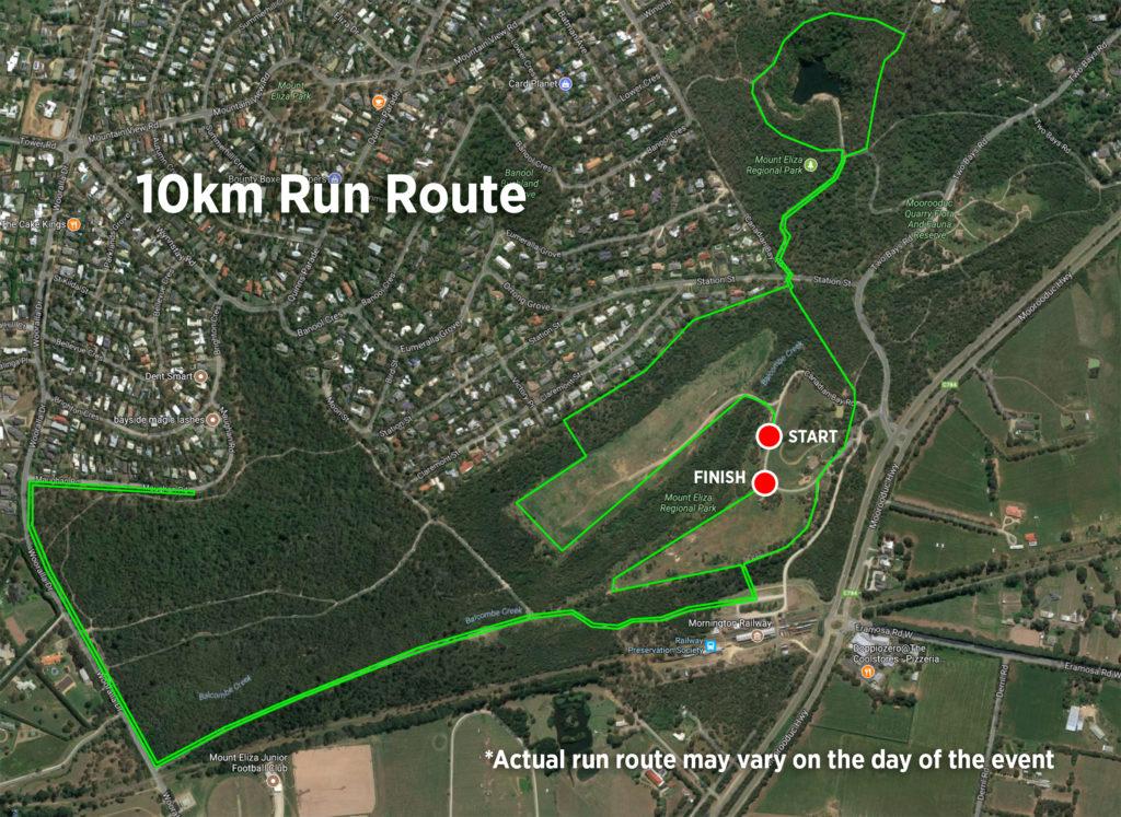 10km run route for My Mount Eliza Trail Run