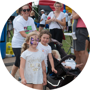 kids with face paint at My Mouont Eliza fun run
